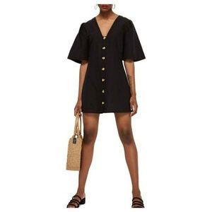 Topshop black button up short sleeve dress